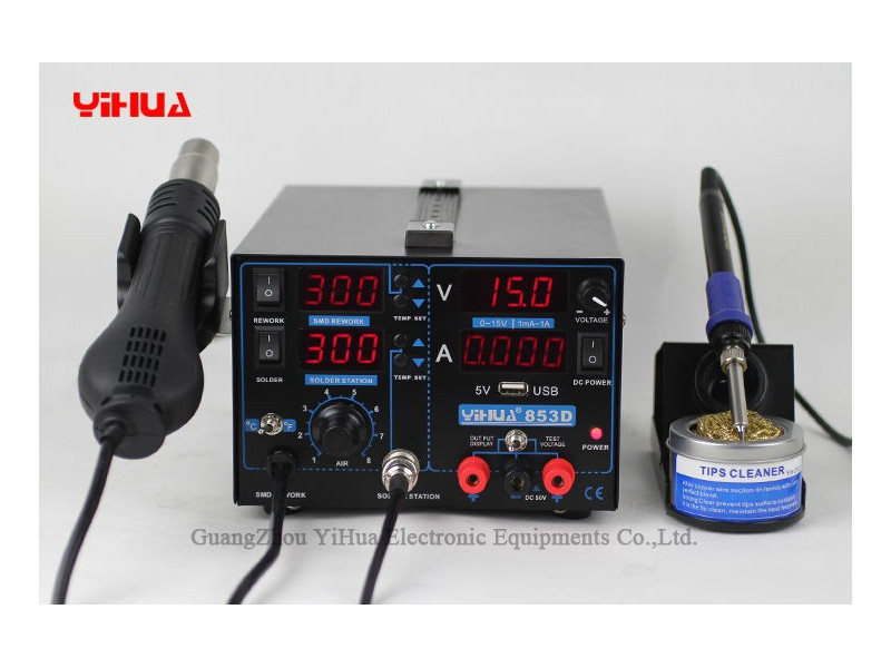 yihua 853d 1a 3in1 ho air soldering iron and power supply yihua 995d high precision rework station  at gsmportal.co