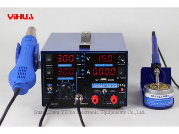 Yihua 853D 3A 3in1 Power Supply, Soldering Iron and Hot Air