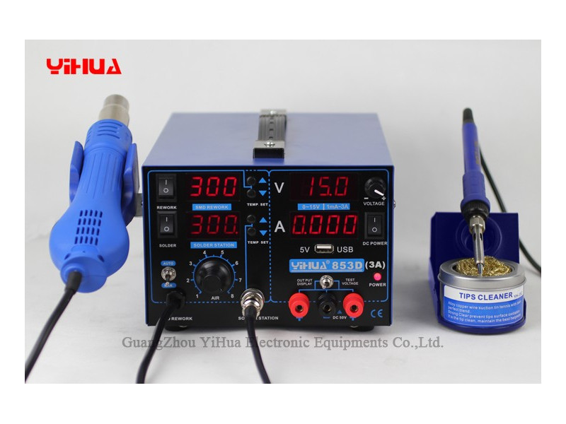 yihua 853d 3a 3in1 hakkosoldering iron hot air and power supp yihua 995d high precision rework station  at gsmportal.co